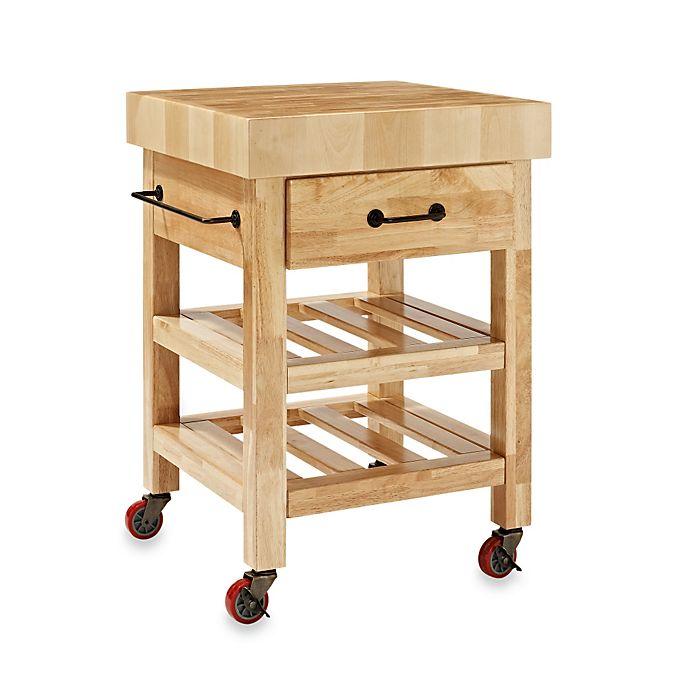 Crosley Marston Butcher Block Rolling Kitchen Cart