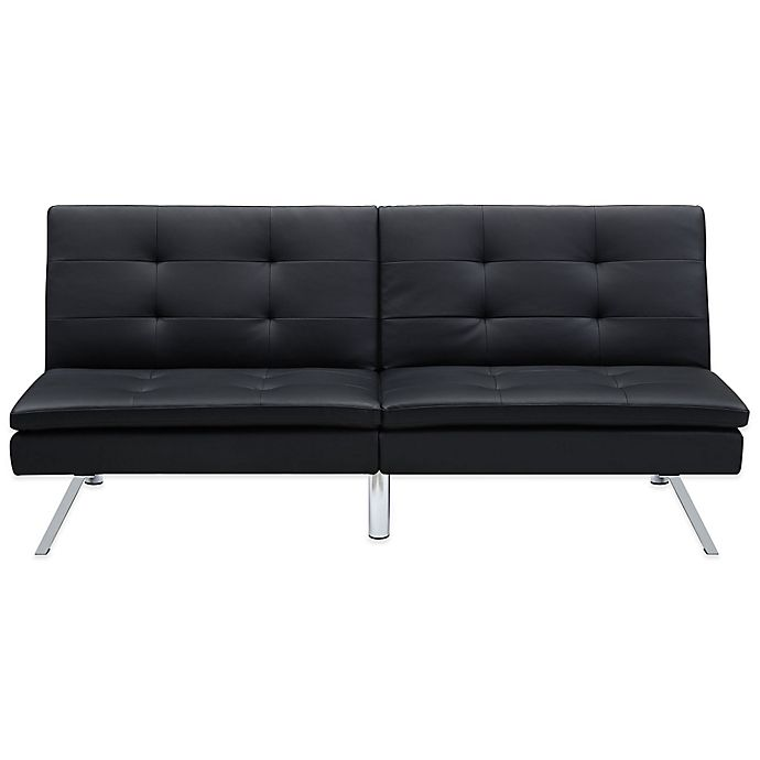 Everyroom Cara Faux Leather Convertible Futon In Black