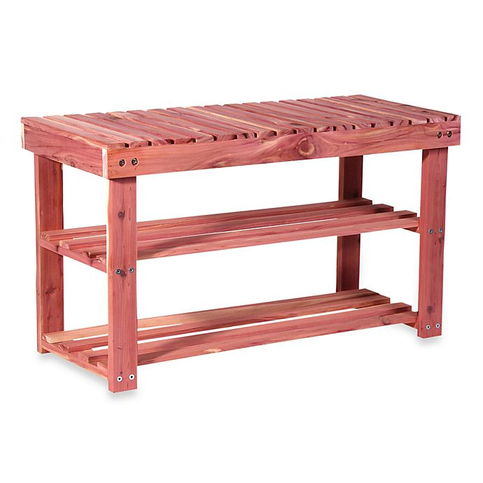 Alternate image 1 for Cedar Fresh Two-Tier Shoe Rack & Seat Bench