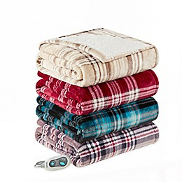 Beautyrest Shawn Heated Sherpa Plaid Throw Wrap