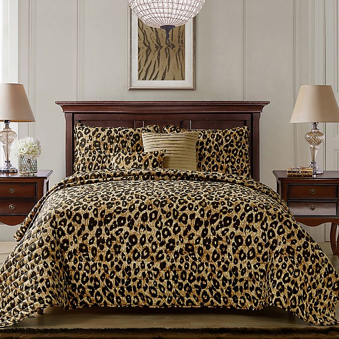 Alternate image 1 for VCNY Home Cheetah 5-PIece Queen Reversible Quilt Set in Brown