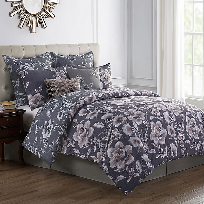 Alternate image 1 for VCNY Home Bella 8-Piece Reversible Full Comforter Set in Navy