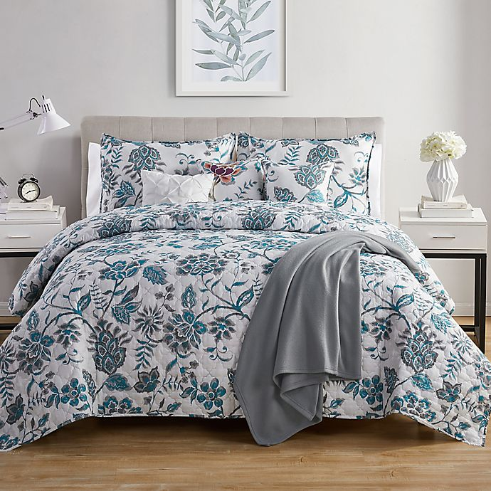 Alternate image 1 for VCNY Home Alexe 7-Piece Reversible Floral Quilt Set