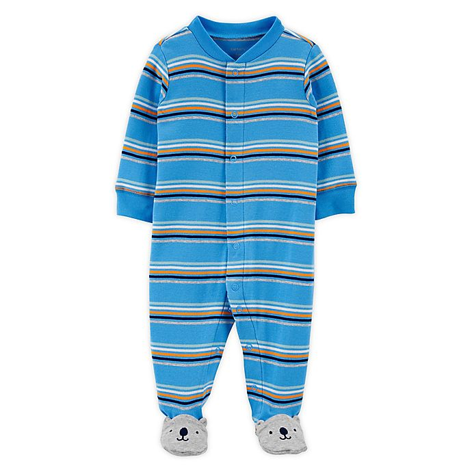 Alternate image 1 for carter's® Size Preemie Striped Bear Zip-Front Sleep & Play Footie