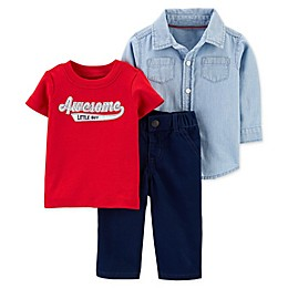 carter's® 3-Piece Awesome Little Guy Chambray Top, Shirt, and Pant Set
