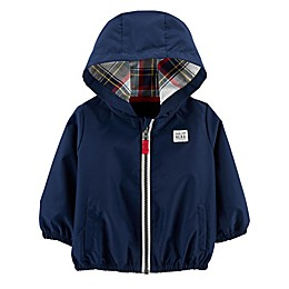 carters®  Zip-Up Poplin Hoodie in Blue