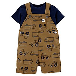 carter's® 2-Piece Trucks Bodysuit and Shortall in Khaki