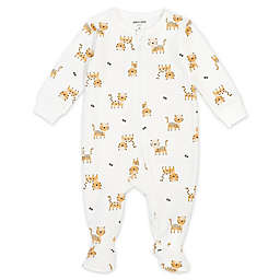 Petit Lem® Newborn Tiger Organic Cotton Footie in Ivory