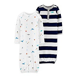 carter's® Preemie 2-Pack Navy Stripe Crab Gowns