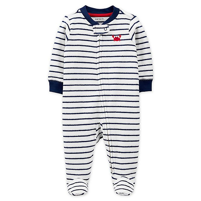 Alternate image 1 for carter's® Size 6M Zip-Front Crab Sleep & Play Footie