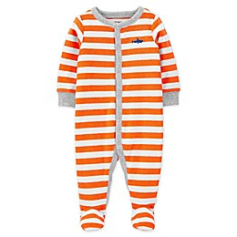 carter's® Snap-Front Shark Sleep & Play Footie in Orange