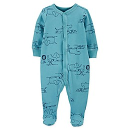 carter's® Snap-Front Zoo Animals Sleep & Play Footie in Blue