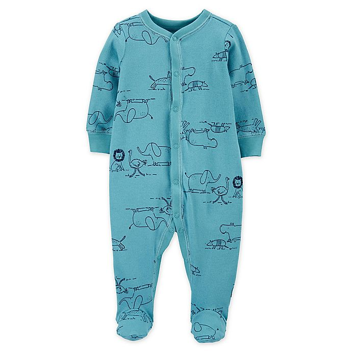 Alternate image 1 for carter's® Snap-Front Zoo Animals Sleep & Play Footie in Blue