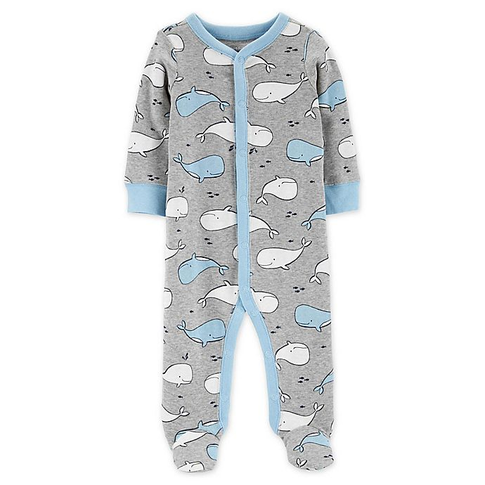 Alternate image 1 for carter's® Whales Snap-Up Sleep & Play Footie in Grey