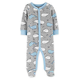 carter's® Size 6M Whales Snap-Up Sleep & Play Footie in Grey