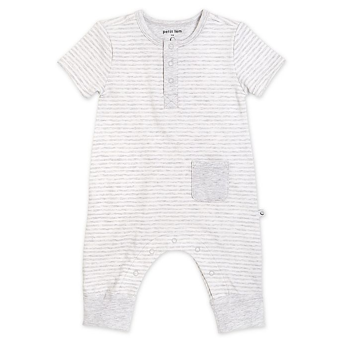 Alternate image 1 for Petit Lem® Organic Cotton Coverall in Grey Stripe