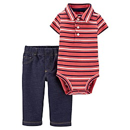 carter's® 2-Piece Stripe Polo Bodysuit and Pant Set