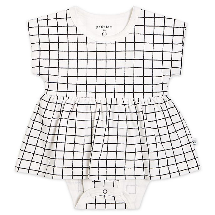 Alternate image 1 for Petit Lem® Windowpane Bodysuit Dress in Black/White