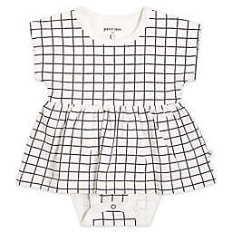 Petit Lem® Newborn Windowpane Bodysuit Dress in Black/White