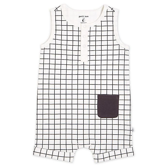 Alternate image 1 for Petit Lem® Windowpane Romper in Black/White