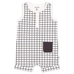 Petit Lem® Windowpane Romper in Black/White
