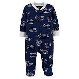 carter's® Newborn Construction 2-Way Zip Sleep & Play Footie in Navy