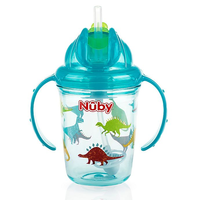 Alternate image 1 for Nuby™ 8 oz. Dinosaur Weighted Straw Trainer Cup in Teal