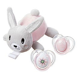 Tommee Tippee 0-6M Stuffed Bunny Pacifier Snuggie Set in Pink