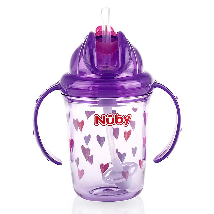 Alternate image 1 for Nuby™ 8 oz. Hearts Weighted Straw Trainer Cup in Purple