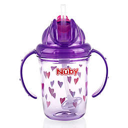 Nuby™ 8 oz. Hearts Weighted Straw Trainer Cup in Purple