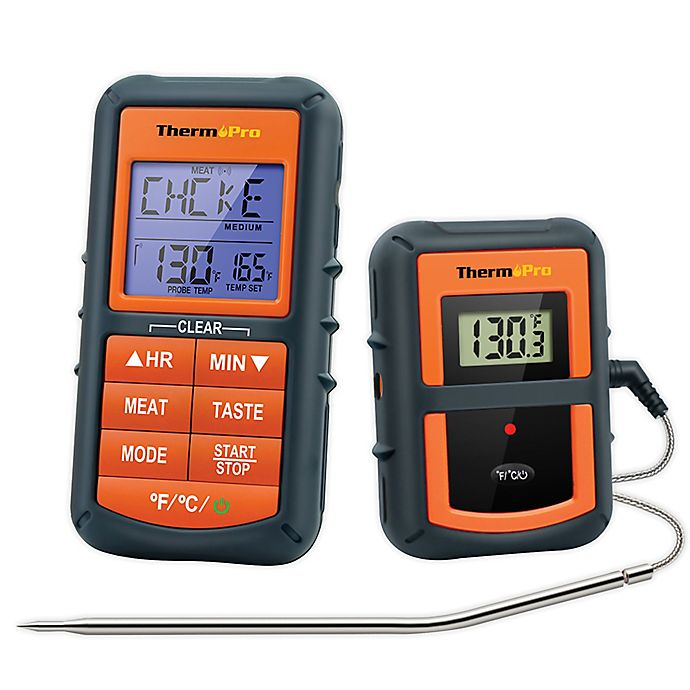 Alternate image 1 for ThermoPro® TP07 2-Piece Digital Wireless Meat Thermometer in Orange