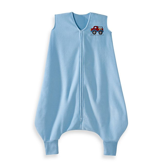Alternate image 1 for HALO® SleepSack® Micro-Fleece Big Kids Wearable Blanket in Blue Truck