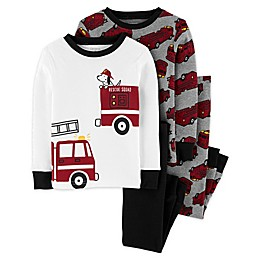 carter's® 4-Piece Firetruck Pajama Top and Pant Set in Grey
