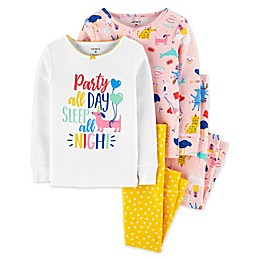 carter's® 4-Piece Party Animals Pajama Top and Pant Set in Pink