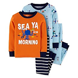 carter's® 4-Piece Sea Creatures Pajama Top and Pant Set in Orange