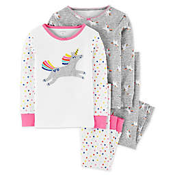 carter's® 4-Piece Unicorn Pajama Top and Pant Set in White/Grey