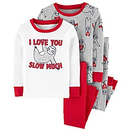 carter's® 4-Piece Valentine's Day Sloth Pajama Top and Pant Set in Grey