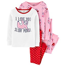 carter's® 4-Piece Valentine's Day Sloth Pajama Top and Pant Set in Pink