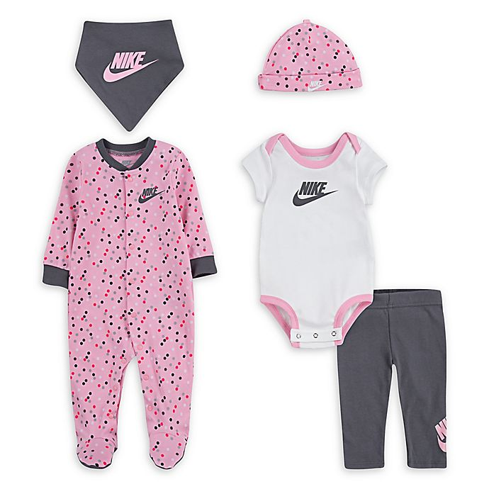 Alternate image 1 for Nike® 5-Piece Polka Dot Layette Set in Pink