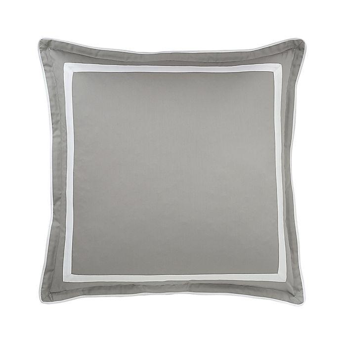 Alternate image 1 for Under the Canopy® Hotel Border Organic Cotton European Pillow Sham in Grey/White