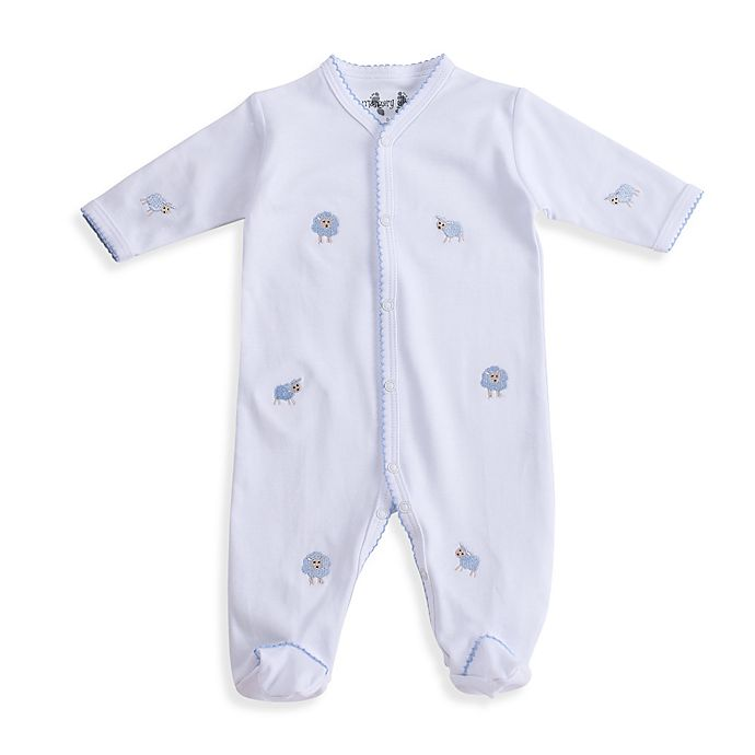 Margery Ellen Baby Sheep-Embroidered Footie in White | Bed