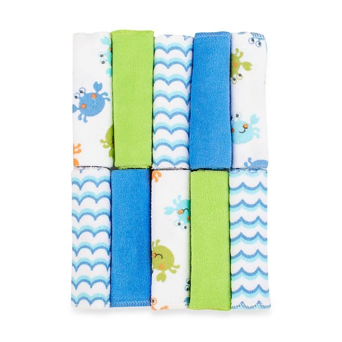 Alternate image 1 for Just Bath by Just Born™ Love to Bathe 10-Pack Crab Washcloth in Blue/Green