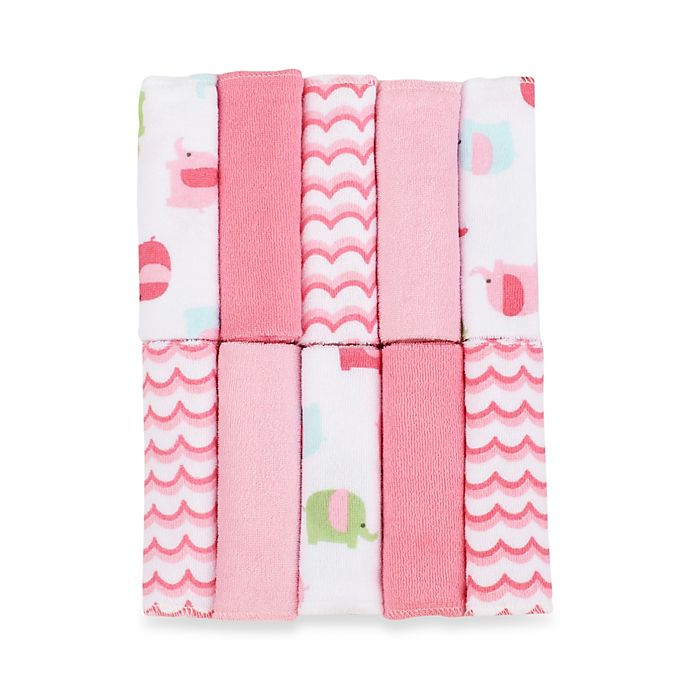 Alternate image 1 for Just Bath by Just Born™ Love to Bathe 10-Pack Elephant Washcloth in Pink/White