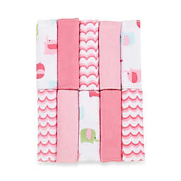 Just Bath by Just Born™ Love to Bathe 10-Pack Elephant Washcloth in Pink/White