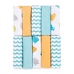Just Bath by Just Born™ Love to Bathe 10-Pack Hippo Washcloth in Aqua/Orange