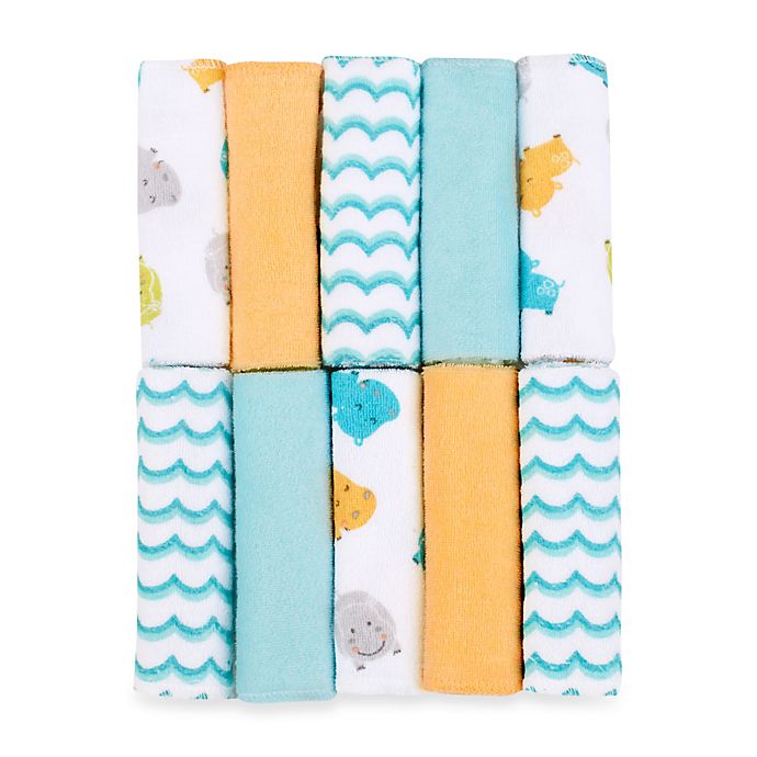 Alternate image 1 for Just Bath by Just Born™ Love to Bathe 10-Pack Hippo Washcloth in Aqua/Orange