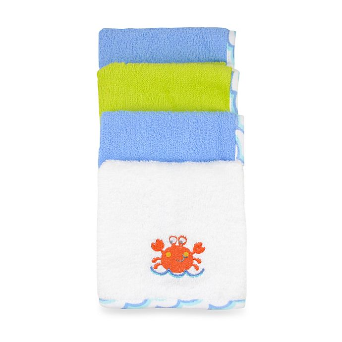 Alternate image 1 for Just Bath by Just Born™ Love to Bathe 4-Pack Crab Washcloth