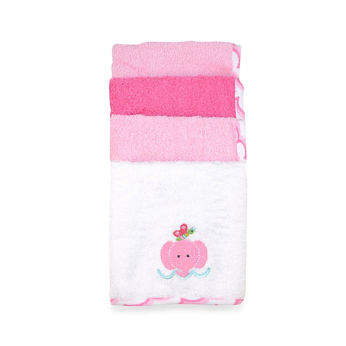 Alternate image 1 for Just Bath by Just Born™ Love to Bathe 4-Pack Elephant Washcloth