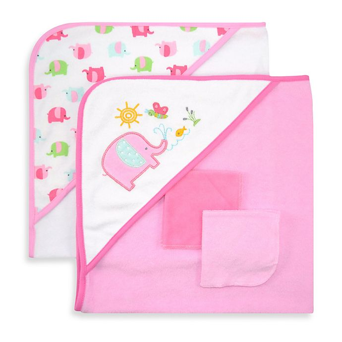 Alternate image 1 for Just Bath by Just Born™ Love to Bathe 4-Piece Hooded Towel & Washcloth Set in Pink