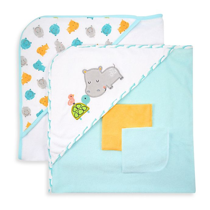 Alternate image 1 for Just Bath by Just Born™ Love to Bathe 4-Piece Hooded Towel & Washcloth Set in Aqua